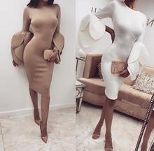 2018 Spring Autumn For Women Clothing Petal Sleeve White Party Bodycon Women's Dresses Sexy Work Office Pencil Dress Vestido
