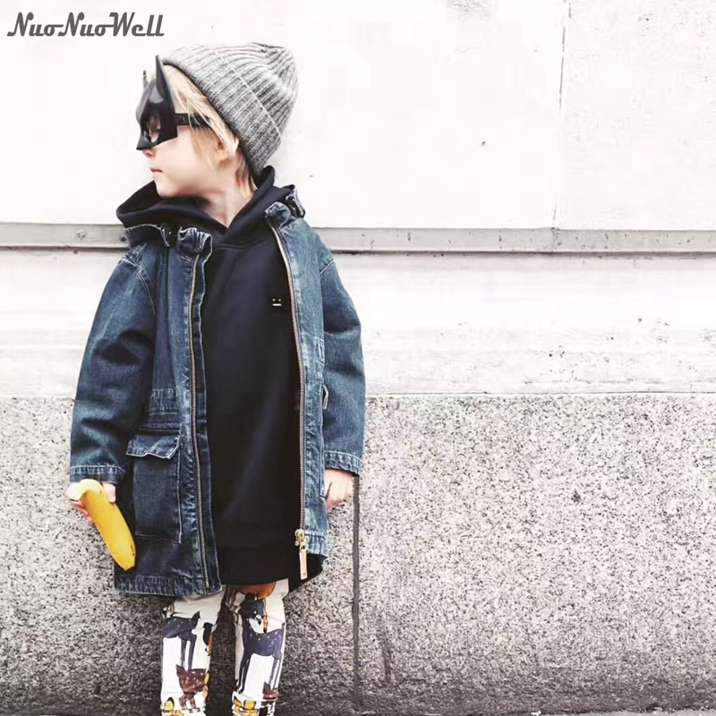 NNW Fashion Boys Girls Jeans Jacket Kids Hooded Jacket Outerwear Autumn Child Coat Long Baby Denim Jackets For Kids 2-6 Yrs недорого