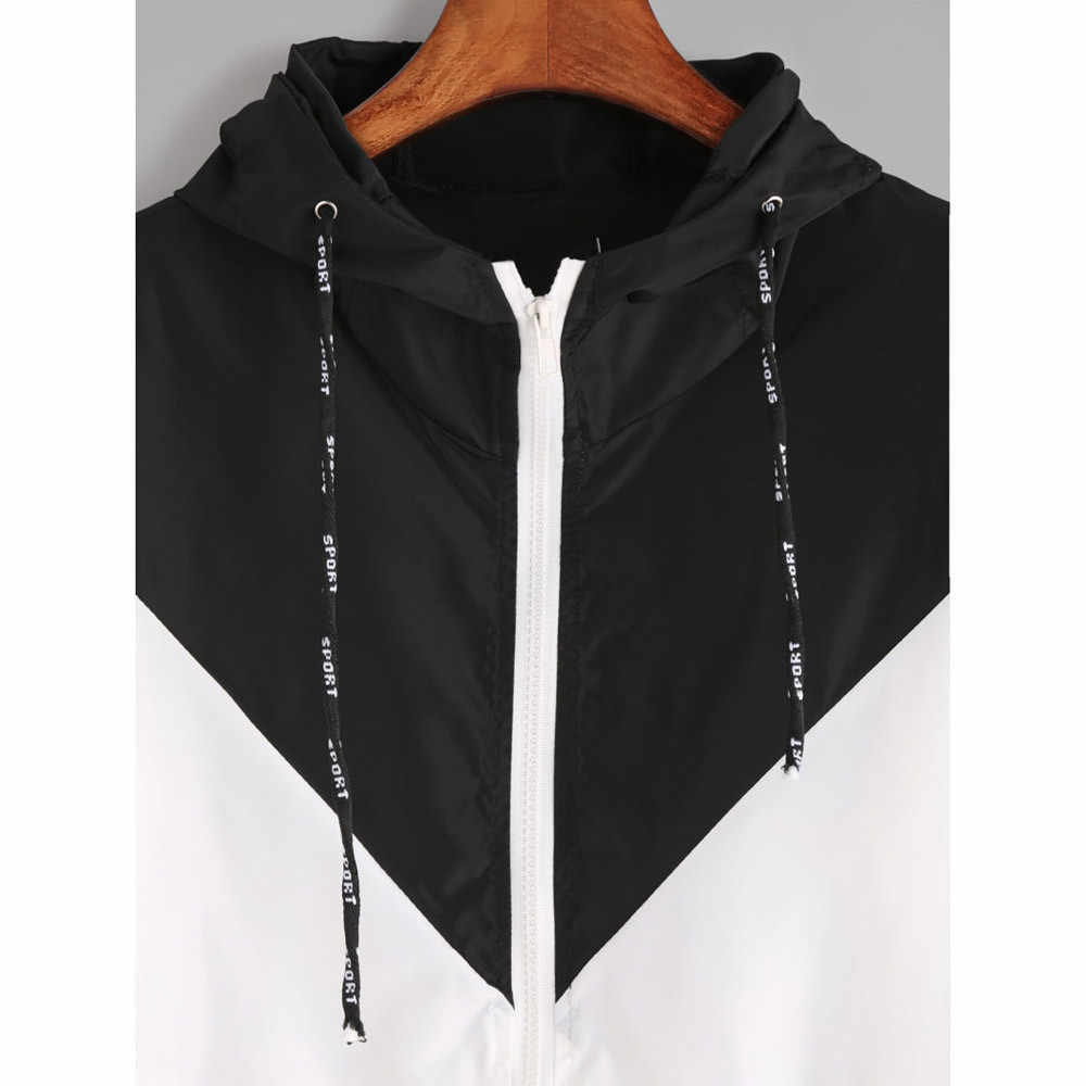 KLV 2020 di Autunno della Molla di Modo Patchwork Con Cappuccio del Rivestimento Della Chiusura Lampo Tasche casual Maniche Lunghe Cappotti Outwear