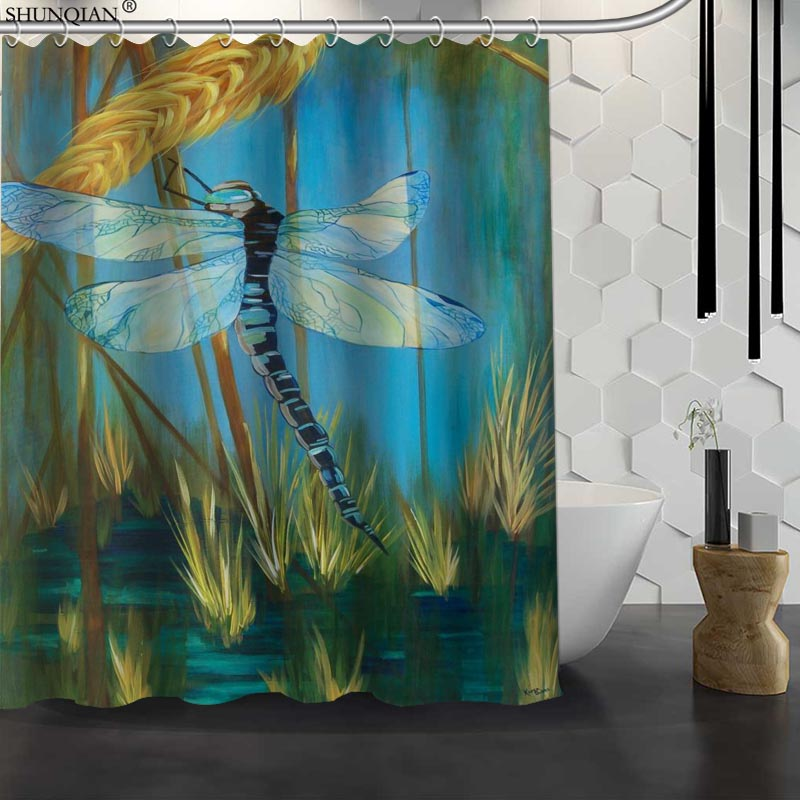 New Dragonfly Paint Custom Shower Curtain Waterproof Fabric Bath Curtain Polyester Fabric Bathroom Curtain 18-4.11
