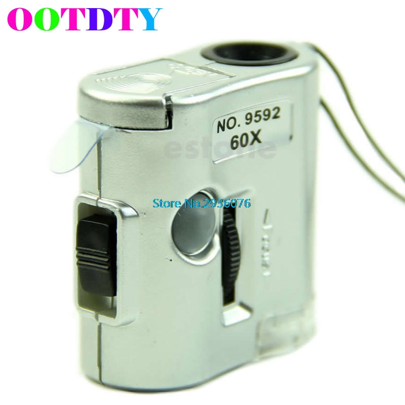 60 X Microscope Jeweler Loupe Lens Illuminated Magnifier Glass With LED UV Light APR6_30