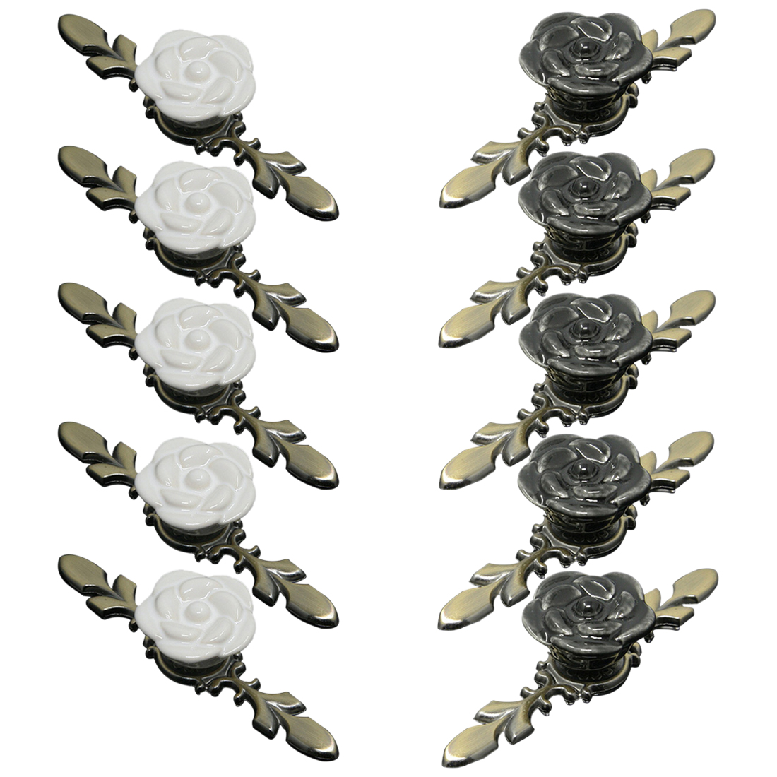 10 pcs Set Rose Shape Ceramic Furniture Handles Creative Doorknob for Cabinet Drawer Wardrobe Door