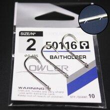 10pcs/lot 1/0#-14# Baitholder eyes Steel Fishing Hooks  white Color Jig Barbed Hook for Soft Worm Bass Carp owner