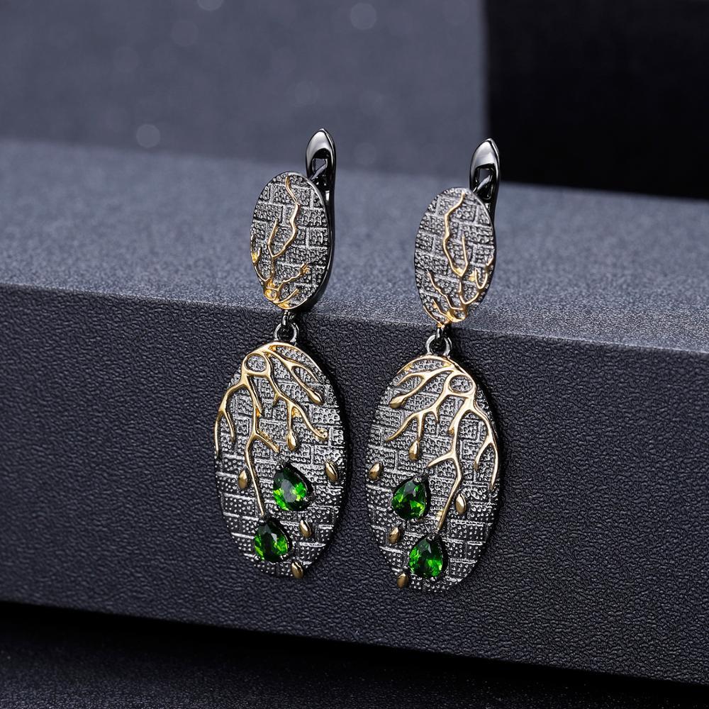 GEM'S BALLET Natural Chrome Diopside Ring Earrings Pendant Sets 925 Sterling Silver Handmade Petal Floral Jewelry Set For Women