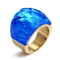 LIN STUDIO Luxury Unique Big multicolour Crystal Rings For Women Gold Stainless Steel Evening Party Jewelry RC-079