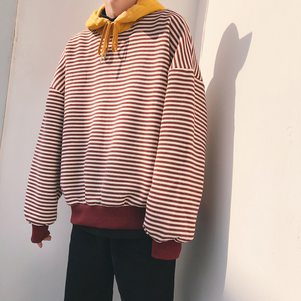 2018 Spring Newest Korean Style Mens Fashion Stripe Hooded Pullover Loose Hoodies Cotton Casual Hip Hop Coat Sweatshirts S-XL