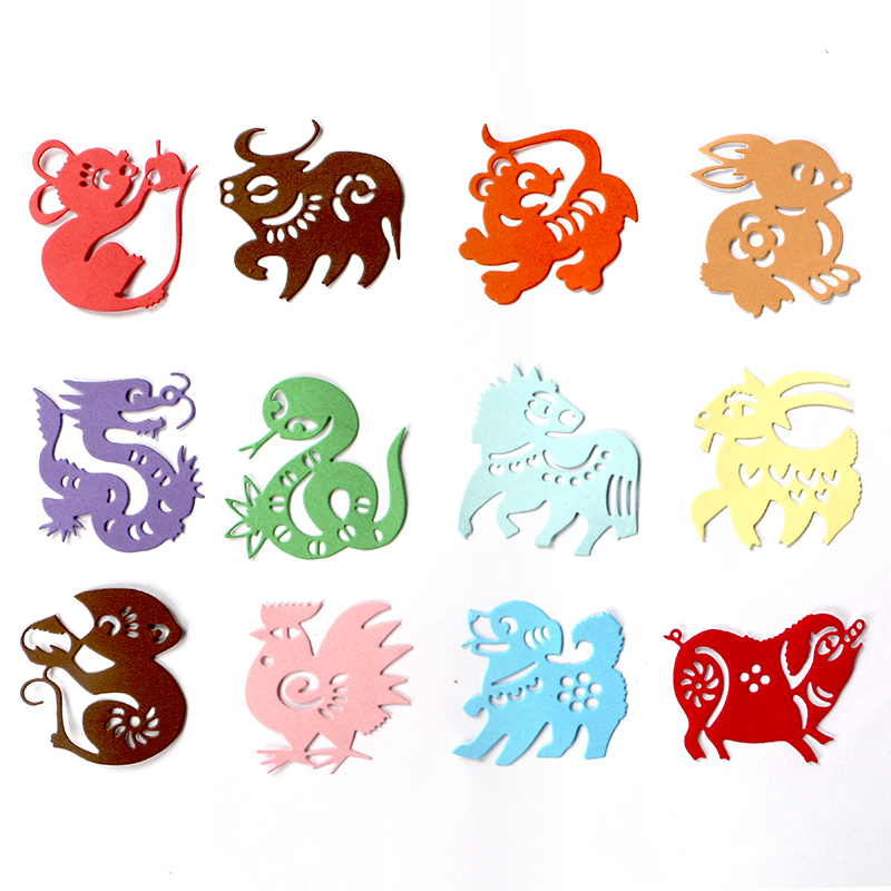 DUOFEN METAL CUTTING DIES Chinese 12 Zodiac Signs Embossing Stencil DIY Scrapbook Paper Album Paper Crafts