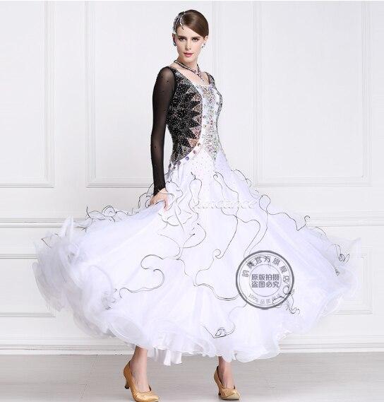 skräddarsy balsal dans tävling klänningar vals rhinestone balsal klänning balsal dans tävling klänningar svart vit