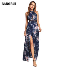 Baborui Fashion Print Floral Halter font b Dress b font Chic Sexy Retro Bustier font b
