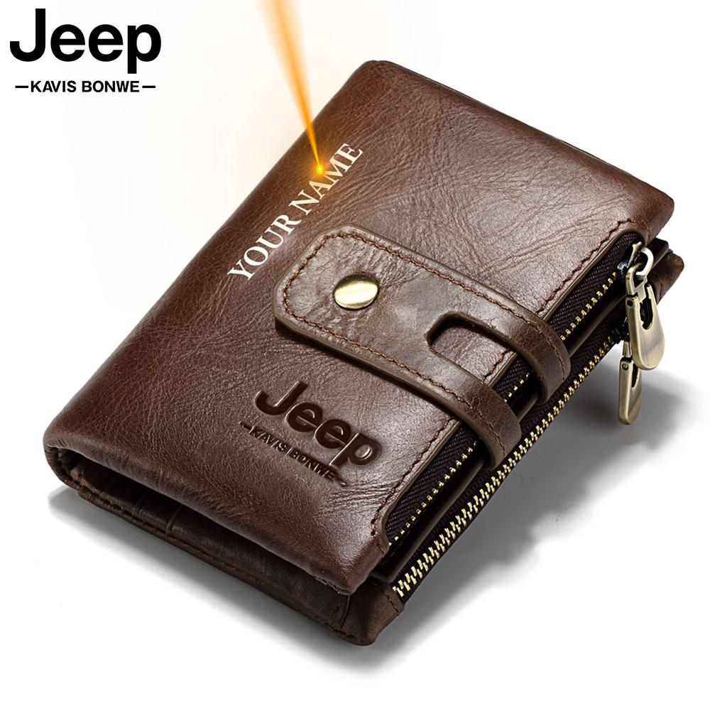 Free Engraving Gift Genuine Leather Men Wallet Coin Purse Small Mini Card Holder PORTFOLIO Portomonee Male Name Pocket Hot Sale