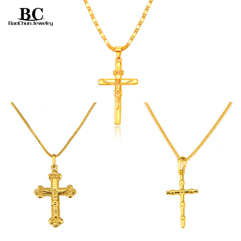 3 style gold color cross necklace men cross pendant necklace 3 style gold color cross necklace men cross pendant necklace religion jesus cross pendant necklace womens jewelry accessories in pendant necklaces from aloadofball Images