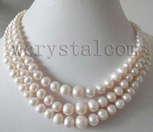 Женское Ожерелье из натурального пресноводного жемчуга 3 ряда