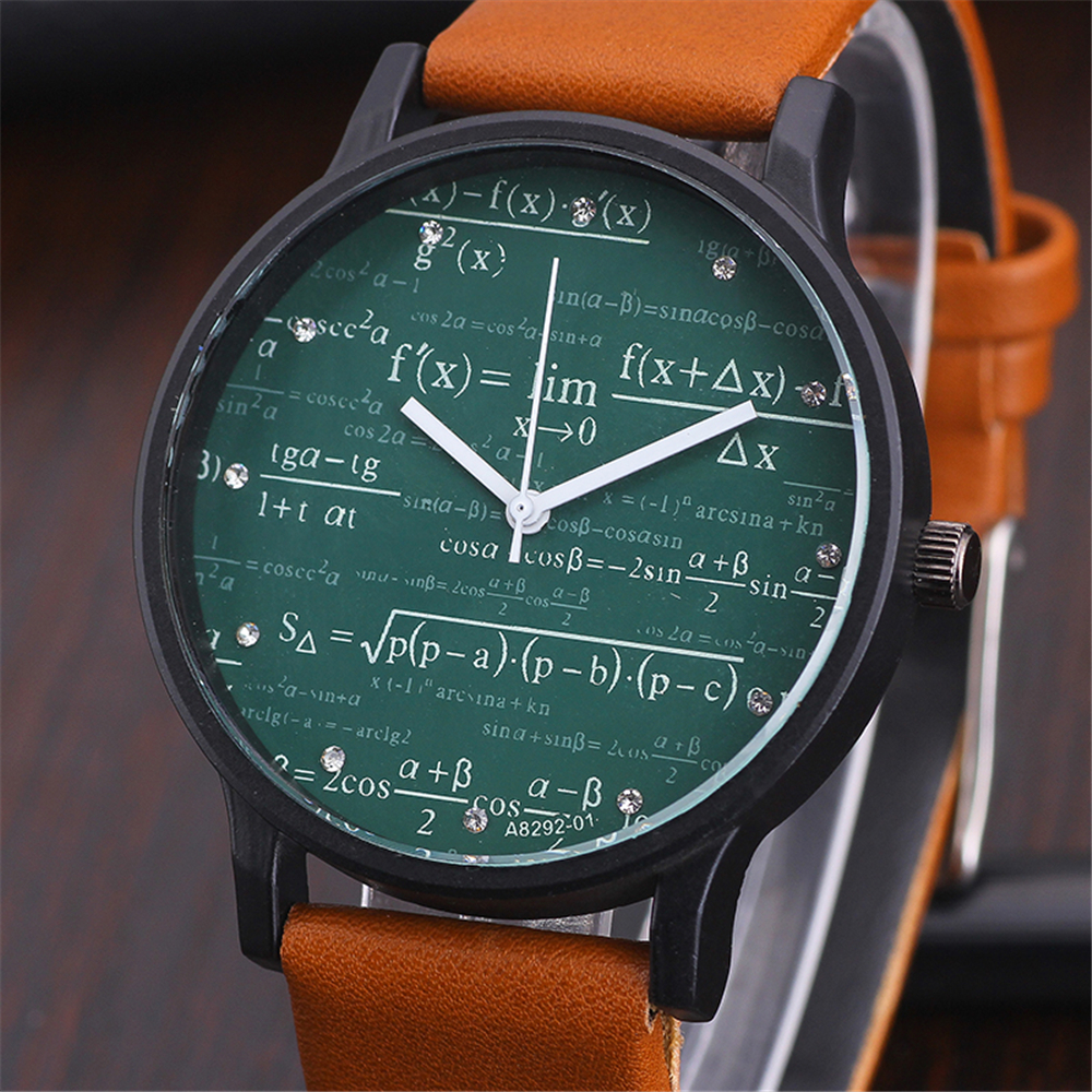 Students' Mathematical Geometry Equation Pattern Watch Women's Luxury Casual Quartz Wristwatch Men Girls' Clock Relogio Feminino