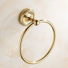 Towel Rings Luxury Gold Brass Towel Ring Towel Holder Bath Towel Bar Bathroom Accessories Home Decoration ZD773(China)
