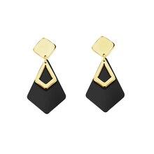 Stainless Steel Simple Black Acrylic Drop Earrings Women Jewelry Gold Color Geometric Square Boucles D'oreilles Femme Pendantes