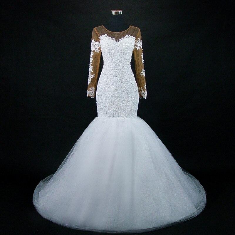 2019 African Brown Nude Long Sleeves Mermaid Wedding Dress Stunning Beading Wedding Gowns