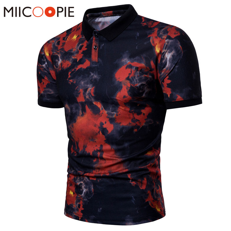 2018 Brand Clothes Mens   Polo   Shirt Cool Red And Blue Flame Printing Top Shirt For Male Comfort Business Turn-down Collar   Polos