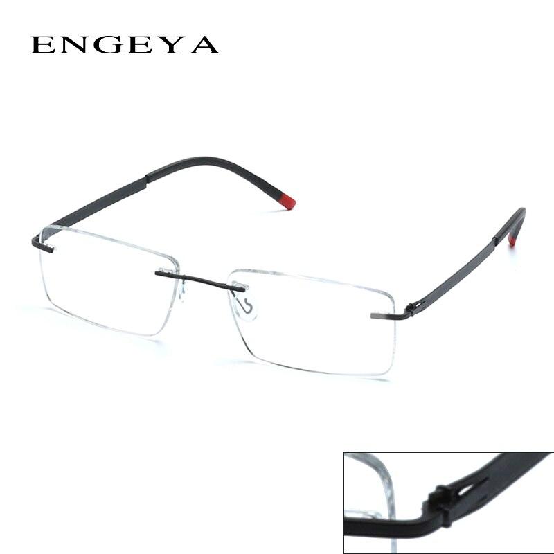 engeya retro optical clear lens rimless glasses frame