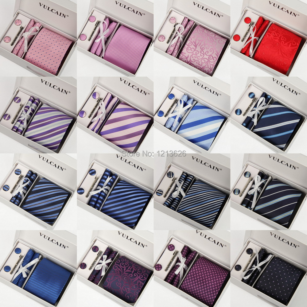 Vulcain Luxury Striped Man Tie Necktie Set With Polyester Material How To A Gift Wrap Package Blue Black Green Red Yellow Purple In Mens Ties Handkerchiefs
