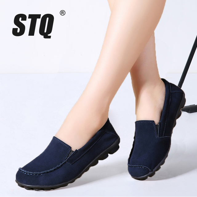 STQ 2020 Autumn Women Flats Leather Suede Slip On Loafers Shoes Ballet Flats Shoes Laides Boat Shoes Oxford Shoes For Women 685