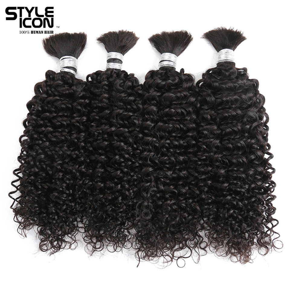 Styleicon 4 Bundles Deals Human Braiding Hair Bulk Natural Color Hair Braiding Remy Peruvian Kinky Curly Hair Extension Crochet
