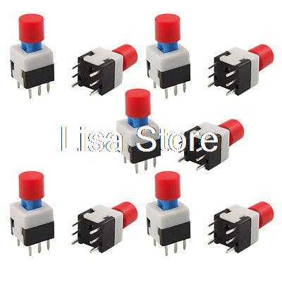 10 Pcs Blue Round Cap Self Lock Push Button Tact Tactile Switch 8 x 8mm x 14mm