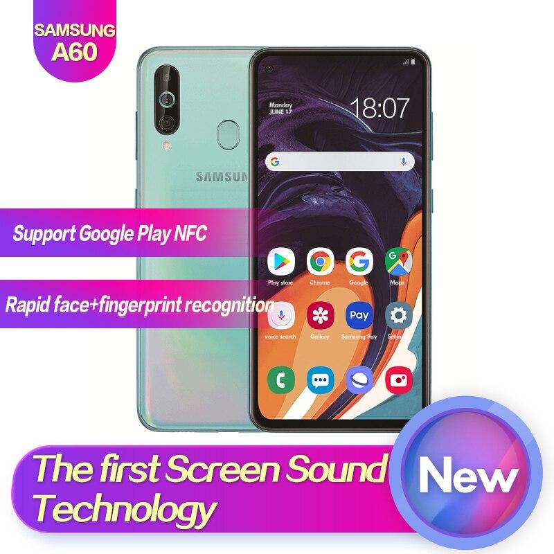 Samsung Galaxy A60 SM A6060 6,3 полный экран 2340*1080 Android 9,0 Восьмиядерный Поддержка NFC 32 Мп + 8 Мп + 5 Мп 3500 мАч лицо + отпечаток пальца ID