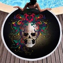 3D impreso cráneo de microfibra Toalla de playa redonda para adultos verano Toalla de Yoga Mat T346