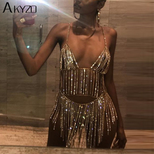 AKYZO Sexy Metal Chain Silver Rhinestone Dress Women Summer Tassel Sequins Sparkling 2 Two piece Luxury Nightclub party Dress