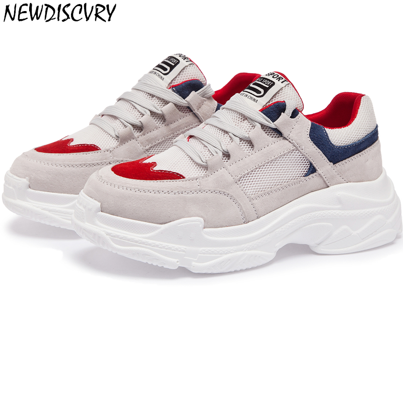 NEWDISCVRY Genuine Leather Women s Chunky Sneakers 2019 Spring Breathable Women Platform Shoes Woman Trainers Ladies