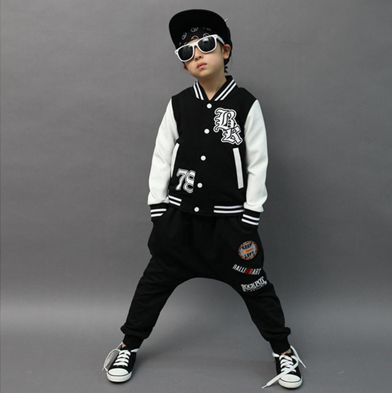 ФОТО 2017 Autumn & Spring Boys Hip-Hop Clothes Sport Suit Fashion Casual Long Sleeve Children's Clothing Set 2 Pieces Jacket + Pants