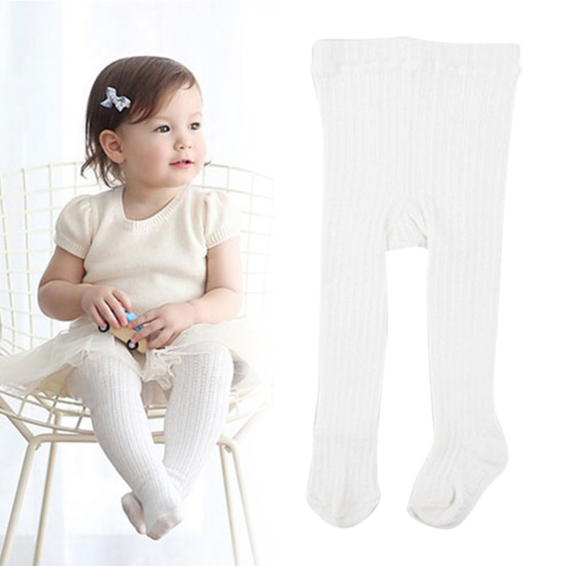 0-4Y Kids Baby Girls Knitted Tights Slim Stocking White Pantyhose Stretch Long Pants Trousers Bottoms