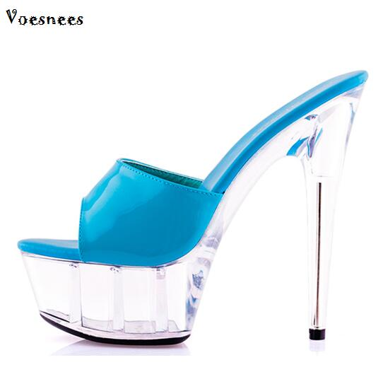 a86a2694c451 Sandals Sweet Ultra High Heels 15CM Transparent Crystal Shoes Wedding Shoes  Pink Waterproof Cooler Slides Female Summer