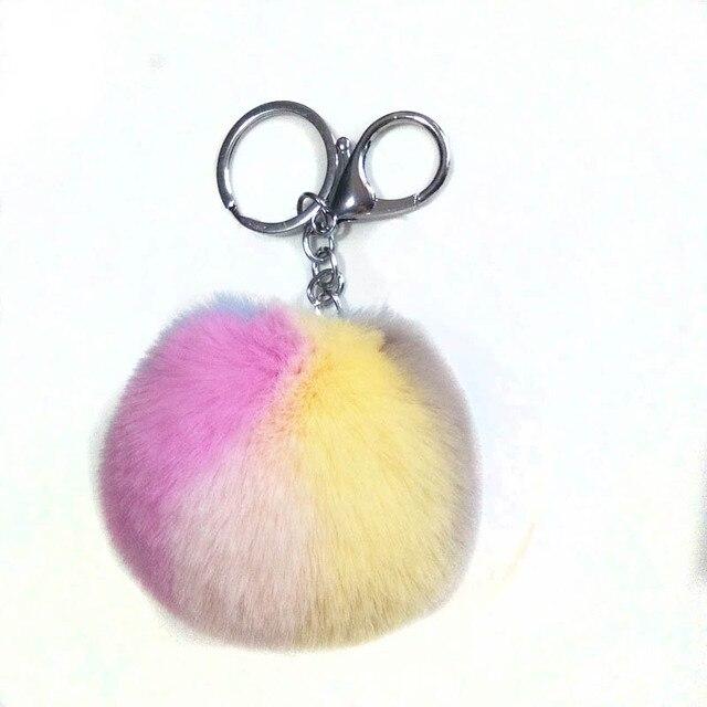 12 pçs/lote Pompom das Mulheres Chaveiro de Coelho Fofo Pom Keychain da Chave Do Carro Anéis Pingente Fecho Da Lagosta Encantos Artesanato Presentes 30 cores