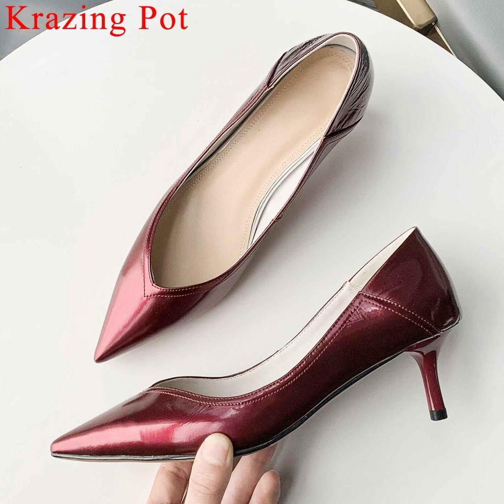 Krazing Pot European superstar solid thin med heels slip on pointed toe women pumps office lady natural leather dress shoes L7f1Krazing Pot European superstar solid thin med heels slip on pointed toe women pumps office lady natural leather dress shoes L7f1