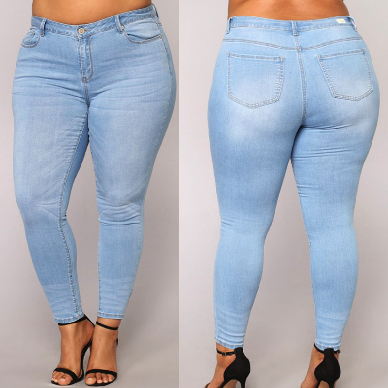 PLUS SIZE   Jeans   Women High Waist skinny Pencil Blue Denim Pants women stretchy stretch elastic   Jeans   women 3XL 4XL 5XL 6XL 7XL