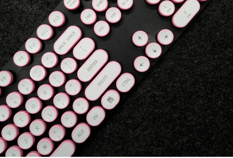 ABS USB Wired Typewriter Steam Punk Style Keyboard With Round Glowing Keycaps For PC Laptop 14