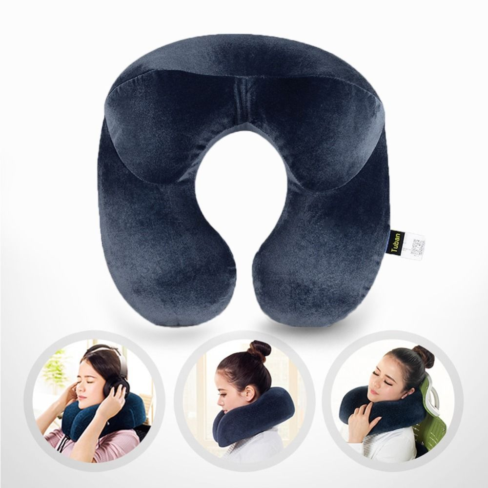 U-Shape Travel Pillow for Airplane Inflatable Neck Pillow Travel Accessories 4Colors Comfortable Pillows for Sleep Home Textile image