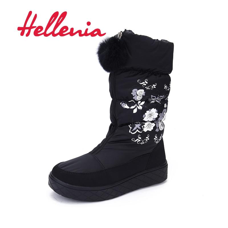 Hellenia Warm Snow Boots young girls Kids Mid Calf Soft Anti