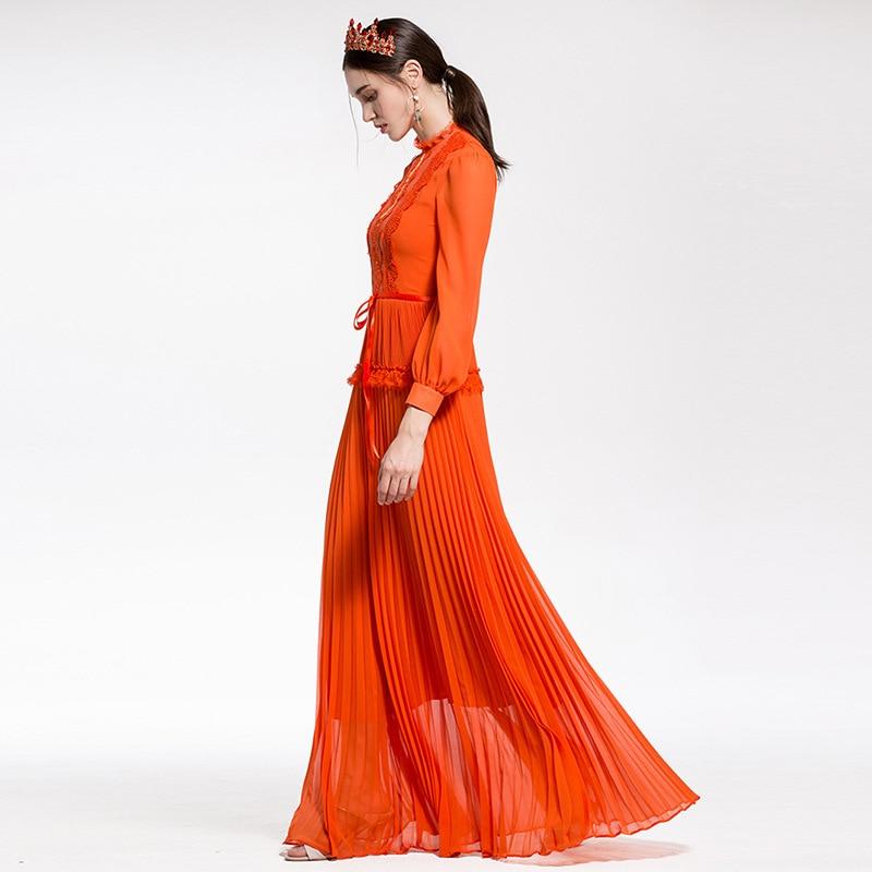De Designer Manches À Patchwork Vintage Plissée Nouveau Élégante Longue Dentelle Piste Robe Haute Longues orange Femmes Noir 2018 Qualité Maxi ARjq5L34
