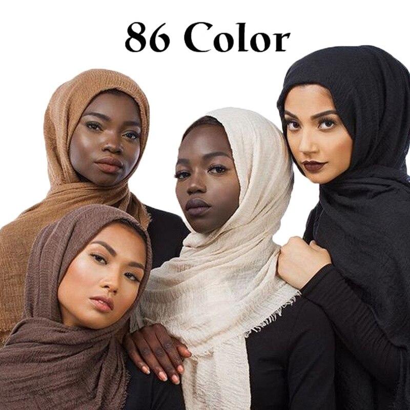 86 Color Plain Bubble Cotton Crinkle Hijab Scarf Women Wrinkle Wrap Viscose Long Headband Muslim Shawls Scarves 10 PCS/LOT