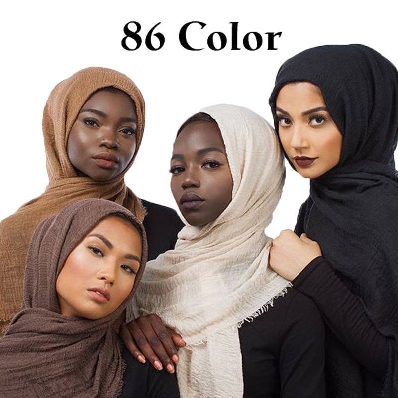 86 Color Plain Bubble Cotton Crinkle Hijab Scarf Women Wrinkle Wrap Viscose Long Headband Muslim Shawls Scarves 10 PCS/LOT-in Women's Scarves from Apparel Accessories