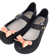 Girl Sandals Bigger Size Bow Jelly Shoes Soft PVC Flat Heels Children Summer Autumn Fashion Shoes