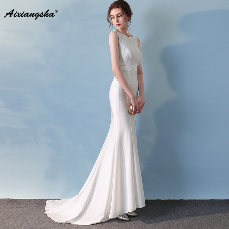 Sexy White Mermaid Scoop Elegant Sleeveless Slit Floor-Length Customized   Evening     Dress   New Style With Train Hot sale Mermaid