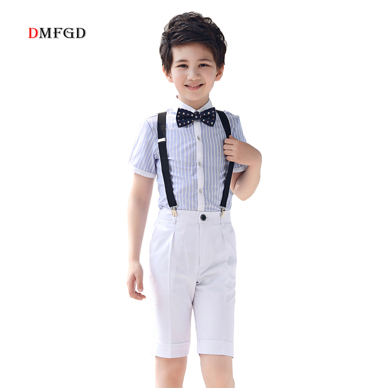 2018 kids shorts sets boys clothes striped shirts white suspender pants school formal uniform clothing suits boy summer clothes