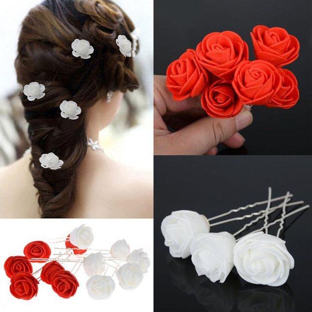 e127ad8bc 6Pcs Women Beauty Small Rose Flower Hair Pins Wedding Bridal Flowers Clips  Bridesmaid Hair Accessories for Women