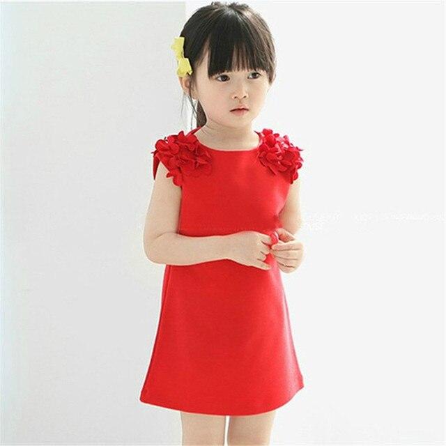 Лето Симпатичные Малышей Детские Малыш Девушки Рукавов Цветок Платье Принцессы Топы Одежда