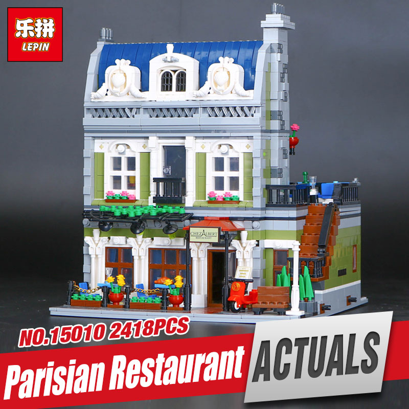 New Lepin 15010 Expert City Street Parisian Restaurant Model Educational Building Kits Blocks Funny Toy Compatible 10243 lepin 15009 city street pet shop model building kid blocks bricks assembling toys compatible 10218 educational toy funny gift