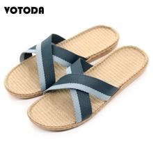 цена Summer Cross Flax Slippers Men Home Linen Slipper Flat Beach Sandals Non-slip Comfortable Indoor Flip flop Man Casual Straw Shoe
