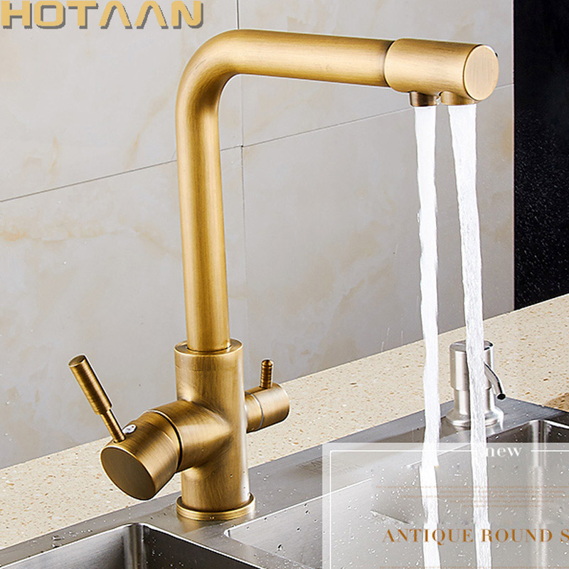 цена на Free shipping Multifunctional Kitchen Hot Cold Water Kitchen Faucet Pure Water Faucet Drinking Water Mixer Tap Antique Brass